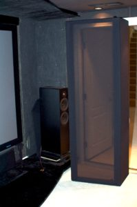 Front right corner of Home Theater. Showing the speaker and acoustic panels behind masking frame; subwoofers will be installed beside of the front right speaker