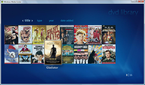 Windows Media Center DVD Library