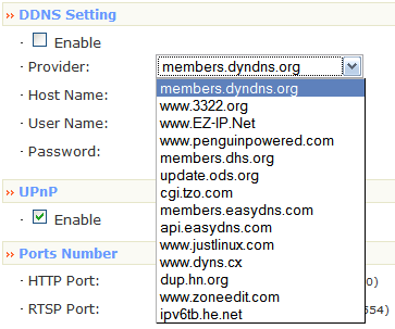 Zonet Dynamic DNS Menu